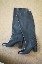 Clarks Ladies Knee-high Pull-on Slouch Boots Joshka Swing Black Leather Uk 5.5