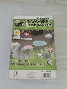 NEW in package Beckett Solar LED 3 Floating Lily Pad Lights for Pond or Pool