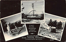 Kingsford MI High School Snow Figures Winner Multi-View, in 1954 RPPC Postcard