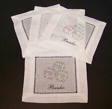 "Bunko Dice Coasters Doilies 6"" Set of 4 Pink Blue Green White Doily Poker"