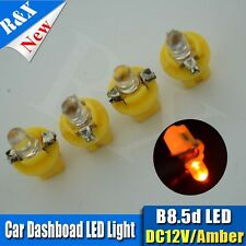 4pcsX 5MM LED T5 B8.5D 2721 286 AMBER INTERIOR DOME 12V LIGHT BULB/LAMP/BULBS