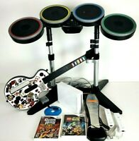 Wii Rock Band Wireless Bundle Wii Console W Guitar,  Drum Set W/Dongles 3 Games
