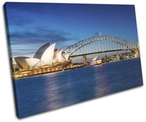 Sydney Skyline Harbour Opera House City SINGLE CANVAS WALL ART Picture Print