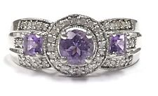 Sterling Silver 925 Purple Amethyst Diamond Halo Triple Split Cocktail Band Ring