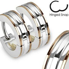Pair of 316L Surgical Stainless Steel 2 Tone Hoop Earring with Coffee IP Edges
