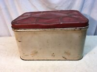 Vtg Primitive Cottage Metal Tin Bread Box  Red & White Retro 40s