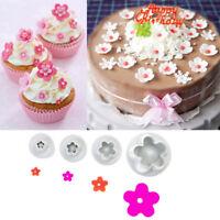 4x Plum Flower Fondant Cake Cutter Plunger Kitchen Cookie Mold Mould Decorating