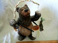 "Carved Look Resin Fishing Bear creel fish pole cabin decor 7"" Tall"
