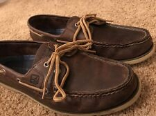 Vintage Sperry Topsiders Brown Leather Boat Shoes Size 10.5