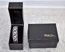 """New Belk & Co Fine Jewelers Pave Diamond 7/8"""" Wide Cuff Sterling Bracelet 28.1 G"""