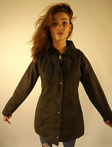 Wax Jacket Ladies New Made In England Fitted Coat Olive Green XS S M L XL