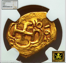 "SPAIN 1 ESCUDO 1626 ""FULLY DATED- ATOCHA ERA"" GOLD COB DOUBLOON NGC 40 COIN!"