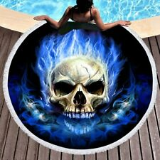 Blue Flame Skull Microfiber Beach Towel Tassels Blanket Yoga Mat 150cm DZ1150