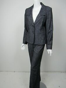 LAFAYETTE 148 Navy White Cotton Wool Tweed Two Button Pant Suit sz 6