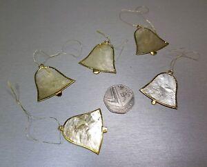 Vintage Set of 5 Suncatcher Stained Glass Christmas Tree Decorations Handmade