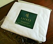 RALPH LAUREN Estate Sateen 370 Count Extra Deep Fitted King Sheet - White, NEW