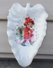 Vintage Lefton Hand Painted Made in Japan Christmas Soap/Candy Dish Little Girl