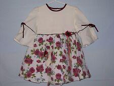 GIRL TODDLER DRESS BEIGE FLORAL/HEADBAND BEAUTIFUL DRESS