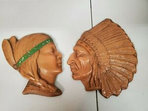 Vintage Unique Unbranded Pottery Indigenous Chef Maiden Heads Wall Decor