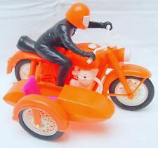 Italian Made Motorcycle & Sidecar Big Jim Size! Plastic 30cm `78 Top Rare!