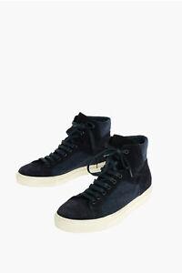 CORNELIANI men Sneakers Canvas Suede High Shoes Rubber Sole Blue 9 (Shoes UK)