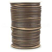 "1/8"" Genuine Leather Flat Cord - Dark Brown - 3mm Cowhide Strap - 10 25 50 Feet"