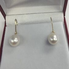 9mm Drop Shape  Freshwater Pearls Earrings Hanging From 24k Gold Plated Silver.