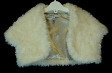 Girls M&S Autograph Ivory White Faux Fur Cropped Jacket Shrug Age 5-6 Years