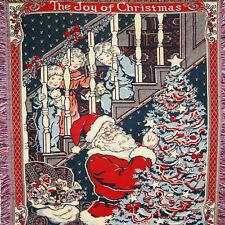 Vintage The joy of Christmas Santa Toys Tree Kids Blanket Throw 68'' x 46''