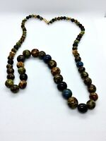VINTAGE MULTI SCOTTISH AGATE GLASS BEAD NECKLACE BARREL CLASP
