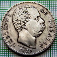 ITALY UMBERTO I 1887 R 2 LIRE, SILVER