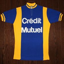 vintage wool 70s Crédit Mutuel cycling jersey size 4 maillot cycliste Sailly Bac