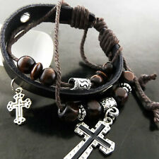 Bangle Bracelet Leather Genuine 925 Sterling Silver S/F Cross Charm Bead Design
