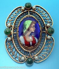 14K Gold French Enamel Brooch with Seed Pearls and Agates (#2951)