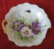 """Saji Fancy China Pin Dish with Violets & Gold Trim ~ 5"""" - Made in Japan 5/320"""