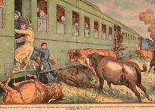 TRAIN SUD EXPRESS PARIS MADRID ATTAQUE TAUREAU IMAGE 1933 BULL ATTACK OLD PRINT
