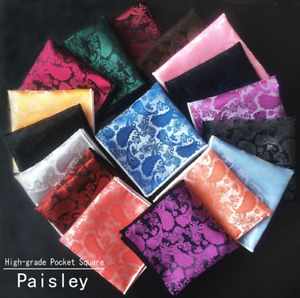 Men Paisley Jacquard Silk square Wedding pocket Hanky Handkerchief UK
