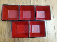 5 Lot Oneida Sakura Port of Call SUNSET Cereal/Soup Square Bowl Sponge Red/Black