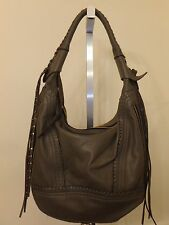 ORYANY MICHELLE SMOKE SOFT NAPPA LEATHER EXPANDABLE HOBO BAG PURSE NEW