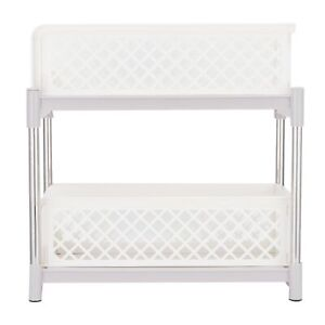 2-Layer Kitchen Sliding Basket Cabinet Organizers With Pull Out Drawers White