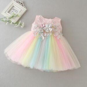 Newborn Baby Girls Rainbow Party Tutu Princess Dress Christening/Birthday/Prom