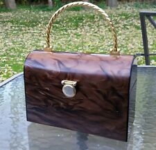 Vintage Borsa Bella Gold Tortoise shell hard Train Box Bag Purse