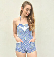 Vintage Vtg 50s 1950s Blue and White Plaid Halter Playsuit Romper