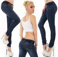 Damen Röhrenjeans Hose Jeans Denim Skinny Stretch Dunkelblau Gürtel XS S M L XL