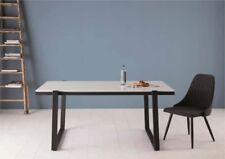 Esstisch Liz Weiß Hochglanz oder Wildeiche Nb mit Metallgestell Schwarz 160x90