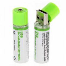 2pcs USB battery AA 1.2V 1450mAh NI-MH Cells USB Rechargeable Battery (Green 7Z9