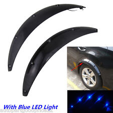 2 Pcs Car Fender Flares Arch Wheel Eyebrow Protector Sticker with Blue LED Light