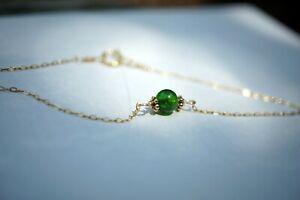 Gold-filled Chain Chrome Diopside Charm Bracelet  7'' Stacking Bracelet For Her