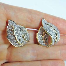 3 CTW Diamond Earrings 14K Gold Hoop Leaf Huggie Pave Vintage Wedding Jewelry
