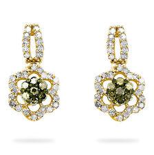 Chocolate Brown Diamond Dangle Earrings 10K Yellow Gold Flower Cluster .31ct